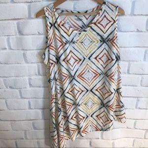 Lane Bryant asymmetrical tie dye blouse